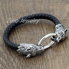 Stainless Steel Wolf Head Men's Black Braided Genuine Leather Bracelet Wristband