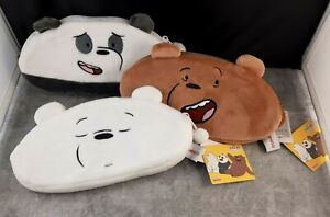 3 Miniso We Bare Bears Coins Plush Zip Wallet Pouch Grizzly Panda Ice Bear NEW