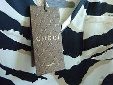 9c06188c59bf0b  875 GUCCI White Black Tank top sleeveless Silk blouse L 10 12 Animal Print  NEW