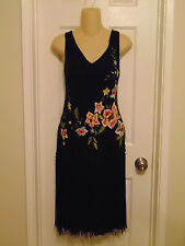 SUE WONG Black Multi Color Floral Embroidered Beaded Fringe Flapper Dress 10