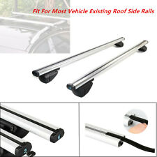 "48"" Cross Bar Top Luggage Roof Rack Cargo Rail Car SUV Aluminum Polished Silver"