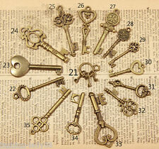 15pc/Set Mixed Random Antique Vintage Old Look Skeleton Key Lot Crown Bow Charm