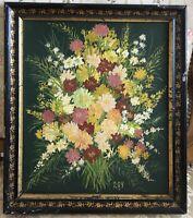 Petit tableau peinture Huile Toile Nature morte fleurs Napoléon III XIXe 19TH