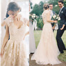 New Full Lace Appliques Wedding Dress Blush Champagne Country A Line Bridal Gown