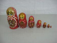 Vintage Russian Matryoska Nesting Dolls 7 Pieces
