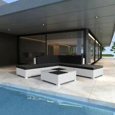 vidaXL Conjunto de Muebles de Jardín 15 Piezas Poli Ratán Blanco Cojines Negros
