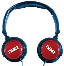 Naxa Red Foldable Headphones and Earbuds with Extra Caps and Case US Seller