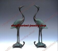 antique Pair Of Bronze Crafted Sculptures Crane Standing On Turtle Old Statue