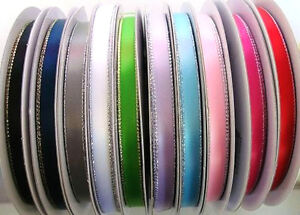 "20 yards Mix Satin 3/8"" Ribbon Silver/Gold Edged Assortment/Craft/Supplies R138"