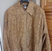 Ladies Leopard Animal Print Zip Front Jacket 100% Silk Plus Size 2X 3X Perfect!