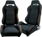 New 2 Black Cloth Yellow Stitching Racing Seats Reclinable Ford Mustang Cobra