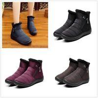 Womens Winter Snow Boots Warm Thick Fleece Lined Non-slip Cotton Shoes Plus Size
