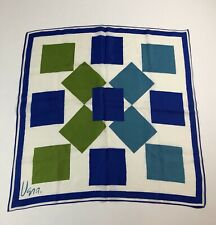 "VTG Vera Neumann 100% SILK Green/Blues Art Deco 23"" Square"