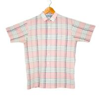 Vintage Colourways By Osmal Mens Pink Check Shirt Size Medium Short Sleeve