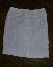 Banana Republic White Button Down Skirt Womens Size 2P EUC Unlined Petite