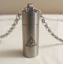 """TRIQUETRA KEEPSAKE/MEMORIAL VIAL STAINLESS STEEL AND INCLUDES A SIMPLE 20"""" CHAIN"""