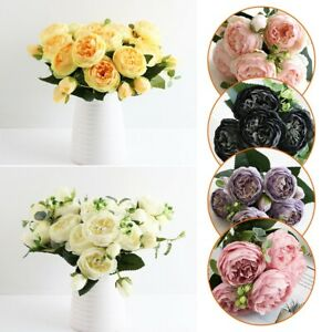 1Bunch Peony Artificial Flower Realistic Wedding Bridal Bouquet Home Party Decor