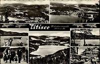 Titisee Schwarzwald Mehrbildkarte 1960 Gesamtansicht Seebrücke Familie in Tracht