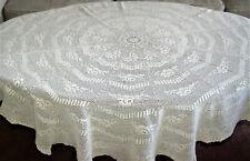 antike, runde Tischdecke aus Filethäkelspitze - reine Handarbeit - weiss - 150cm
