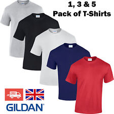 1 3 5 Pack Mens T-Shirt Plain Blank Gildan 100% Heavy Cotton Tshirt Bundle Gym
