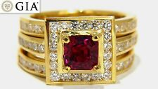GIA Certified 1.51ct Rare Asscher cut vivid red ruby 2.00ct diamonds ring 18k