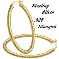 Eternity Gold Oval Tube Hoop Earrings in Sterling Silver Diamond Cut Eternity