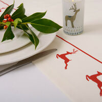 Luxurious Designer Christmas Table Runner UK Cotton Choice Of Lengths Red Stag