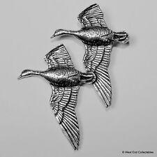 Pair Flying Geese Pewter Pin Brooch -British Artisan Signed Badge- Greylag Goose