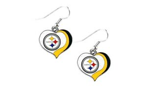 Pittsburgh Steelers swirl heart earrings dangle charm FAST USA SHIPPING
