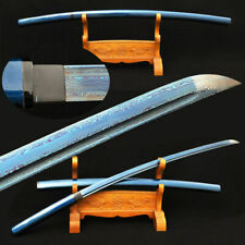 Blue Blade Japanese Shirasaya Katana Samurai Sword Folded Steel Full Tang Sharp