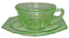 Hocking Princess Green Depression Glass Cup and Saucer