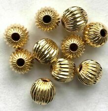 32 Genuine 14kt. Gold Filled (14/20) Fluted Round Beads - 5mm - All New !
