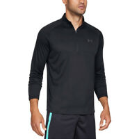 Under Armour Mens Tech 1/2 Zip Top Black Sports Gym Half Breathable Lightweight
