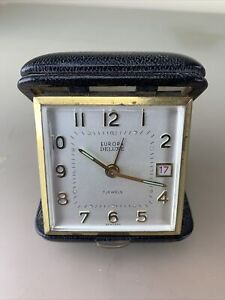 """Vintage travel alarm clock""""EUROPA"""", ⏰, MADE IN GERMANY,  7 JEWELS"""