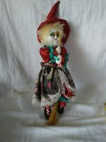 """14"""" long Hanging Witch With Porcelain Face. In Pristeen Condition"""