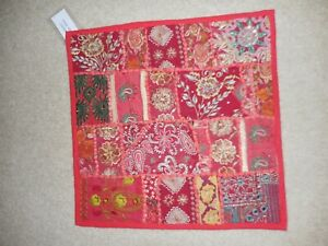 Square Pillow Sham Sequin Embroidered Patchwork Flower Paisley Red  16""