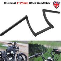 "Black Drag 1"" Z Bar Motorcycle Pullback Handlebar For Harley Chopper Bobber Dyna"