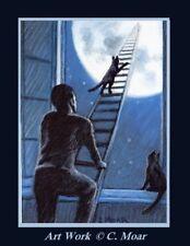 Black Kitten Cat Window Man Moon Surreal ACEO Limited Edition mini Art Print