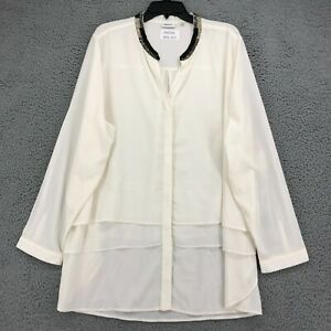 DKNYC Blouse 3X Womens Plus White Layered Beaded Collar Long Sleeve NEW