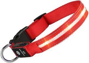 Rot L MASBRILL LED Leuchthalsband für Aufladbar Hundehalsband 100% Wasserdicht
