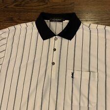 VTG Yves Saint Laurent YSL Men's 100% Silk Polo Shirt Tan Striped XXL 2XL