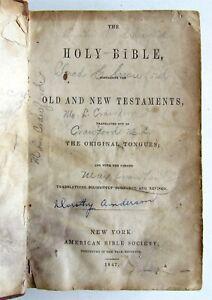 1847 BIBLE PRE-CIVIL WAR AMERICANA Old & New Testaments in ENGLISH antique