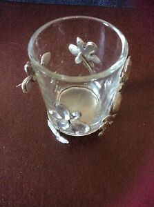 Decorative metal candleholder with Butterfly and Flower on