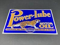 "VINTAGE POWERLUBE MOTOR OIL GAS W/ TIGER 12"" X 8"" METAL POWER LUBE GASOLINE SIGN"