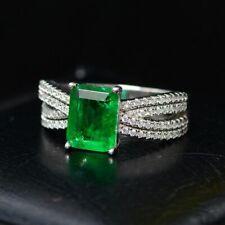 Luxury Women's Ring 7 0 11/32in Zirconia Emerald Stone Genuine Silver 925 Gift