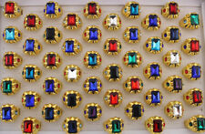 Wholesale Lots 5pcs Men's Gifts Colorful Glass Fashion Rings Gold Plated Ring