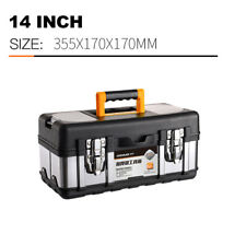 Multifunctional portable storage box, stainless steel tool box cover, 14 inch