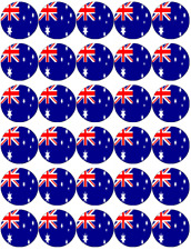 30 x Australian Flag Edible Cupcake Toppers Wafer Paper Fairy Cake Topper