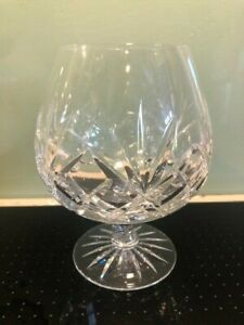 Large cut glass crystal brandy balloon glass ; VGC