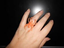 Orange Spider Ring 4 Halloween Fancy Dress Brand New Adjustable 4 Adult or Child